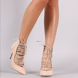 Pointy Lace Up Heels Nude Booties Corset